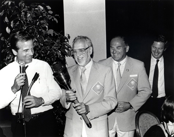 Peter Ueberroth, David Wolper, John Argue and Harry Usher at the '84 Opening Ceremony after-party